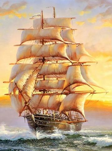 Алмазная Мозаика 30x40 Корабль мчит по волнам (арт. MTC3572 )