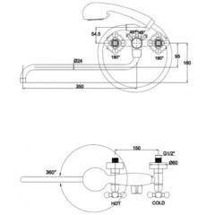Смеситель KAISER Carlson Lux 11155 для ванны схема