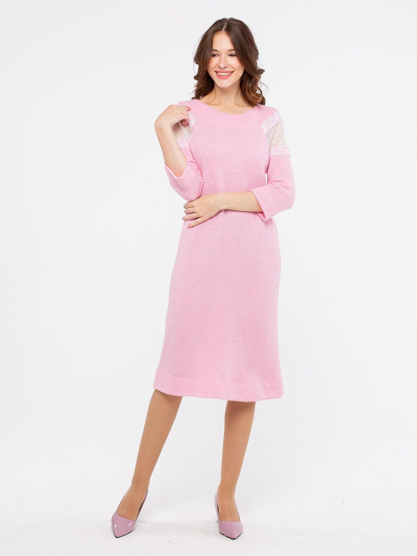 Платье З143-220 - Уютное и нежное платье из вязаного трикотажного полотна с эффектными кружевными вставками на рукавах.