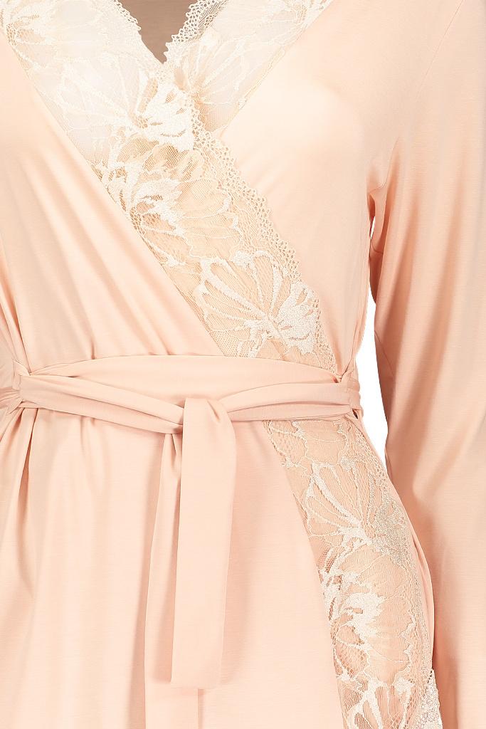 Персиковый халат с кружевом Zimmerli