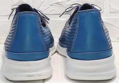 Спортивные кожаные туфли кеды кожаные женские летние casual premium Wollen P029-2096-24 Blue White.