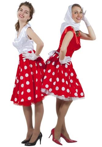 Платье Стиляга бело-красное в горох 3