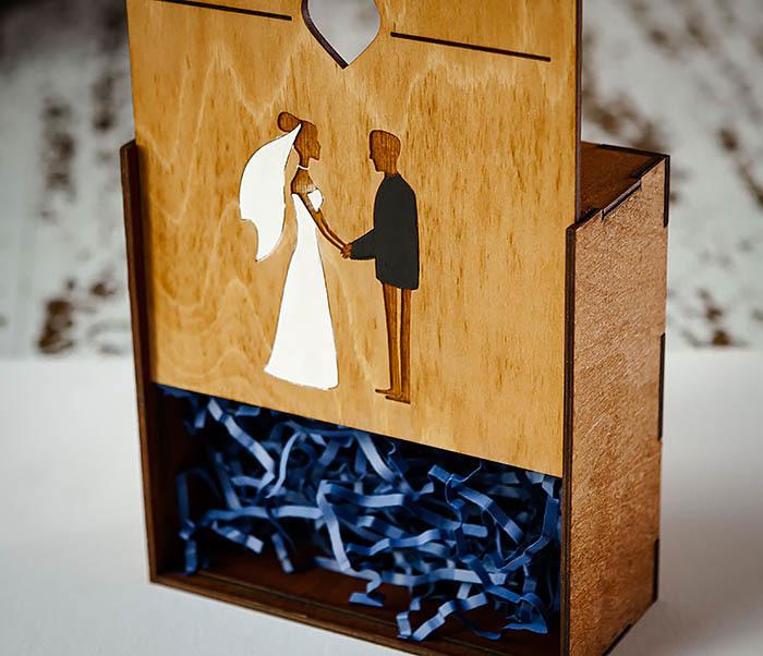 BOX236-2 Подарочная деревянная коробка на свадьбу (17*17*7 см) фото 06