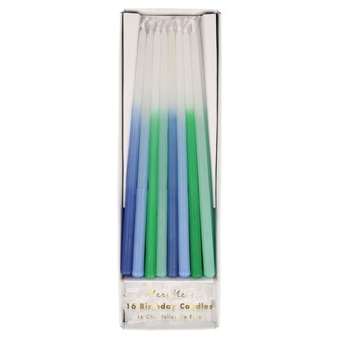 Свечи восковые конусные, голубые