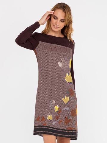 Фото коричневое платье из вискозы с орнаментом елочка и цветочным принтом - Платье З298-153 (1)