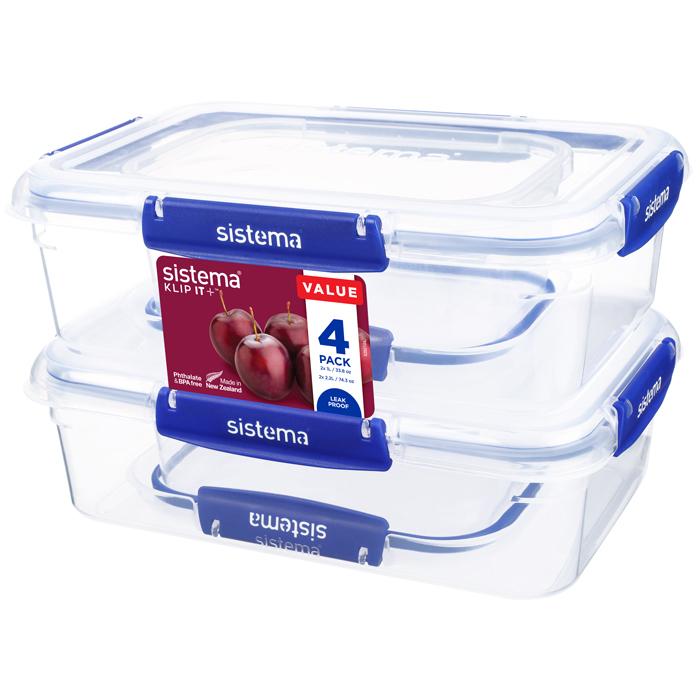 "Набор герметичных контейнеров Sistema ""KLIP IT+"", 4шт., 2 х 1 л, 2 х 2,2 л"
