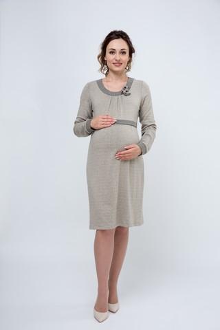 Платье для беременных и кормящих 08054 бежевый