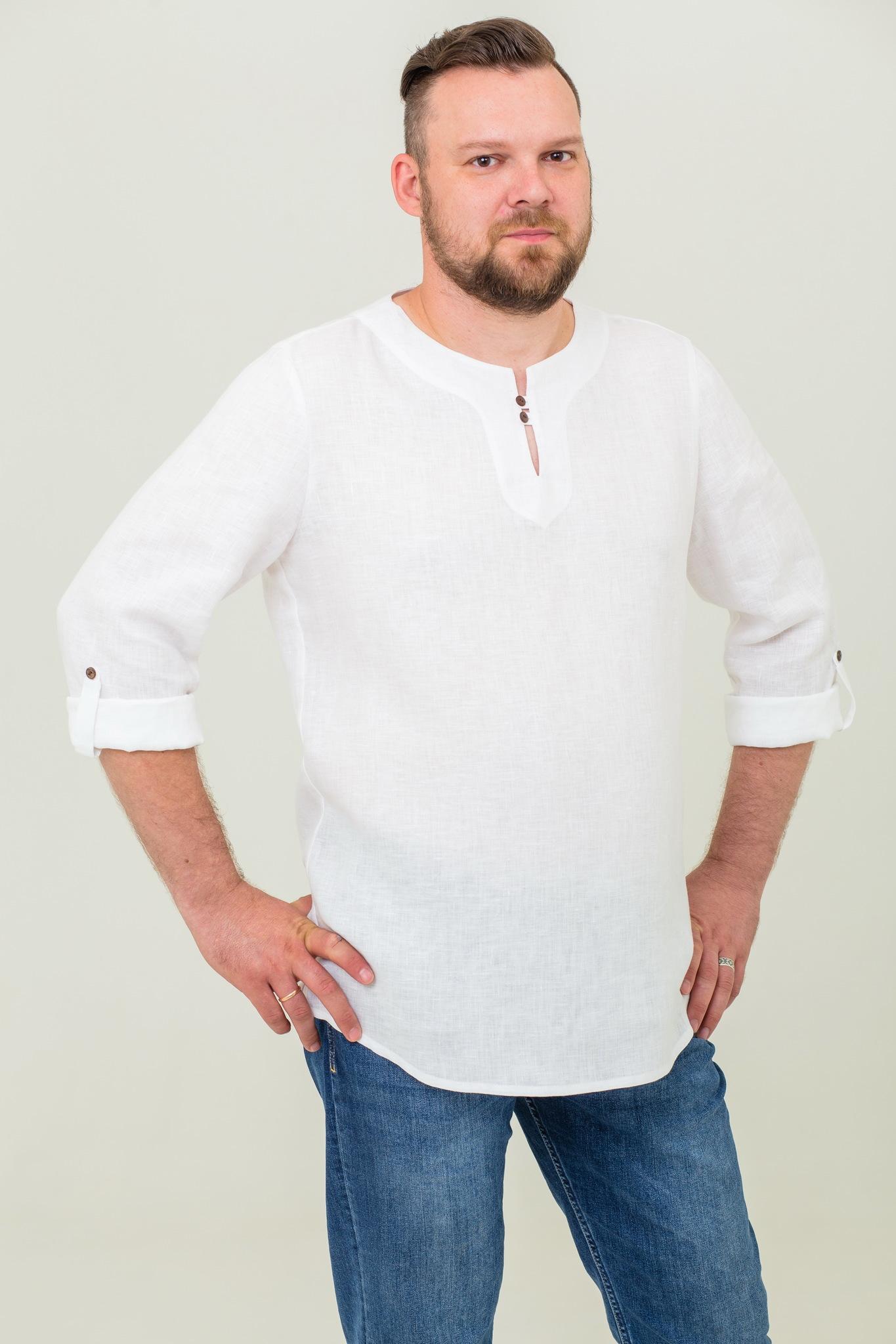 Мужская современная рубашка из льна Свежий ветер