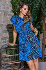 Платье мини из вискозы с коротким рукавом синий