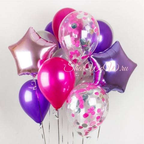 Набор воздушных шаров розовый, малиновый, сиреневый, фиолетовый