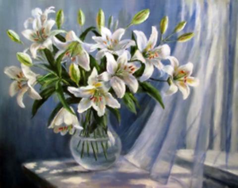Картина раскраска по номерам 30x40 Белые лилии у окна (арт. KTL2023)