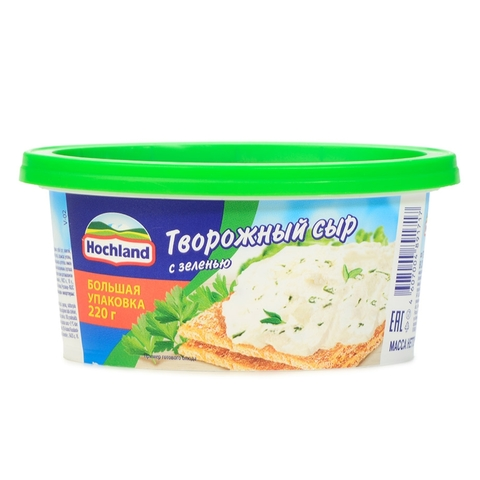 Сыр творожный ALMETTE Зелень 220 гр ванна Hochland РОССИЯ