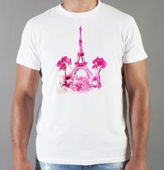 Футболка с принтом Париж, Франция, Эйфелева башня (France/ Paris) белая 008