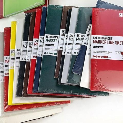 Скетчбук SKETCHMARKER MARKER LINE 160г/м.кв 148х210см 16л мягкая обложка цв. темно-зеленый