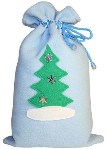Голубой мешочек для подарков Ёлочка