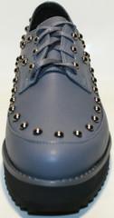 Туфли женские серые, кожаные, дерби на низкой танкетке, на шнурках Joulie