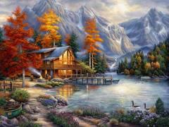 Картина раскраска по номерам 30x40 Домик у реки в горах
