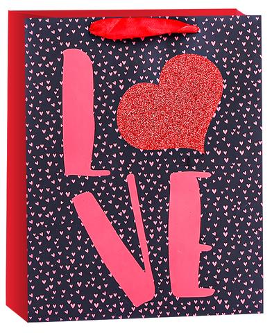 Пакет подарочный, Любовь (конфетти сердец), Черный/Красный, с блестками, 23*18*10 см