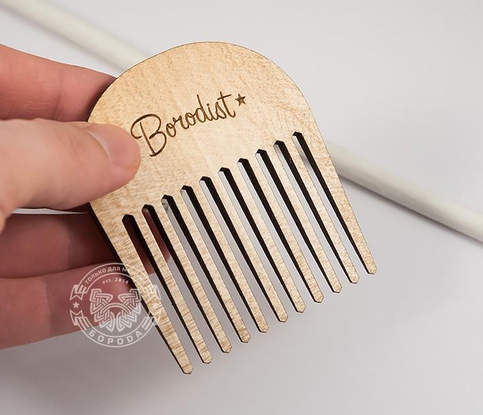 RAZ201 Фирменная гребень расческа для бороды из дерева, «Borodist» фото 02