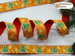 Лента репсовая Елки со снежинками на красном с золотом 22 мм