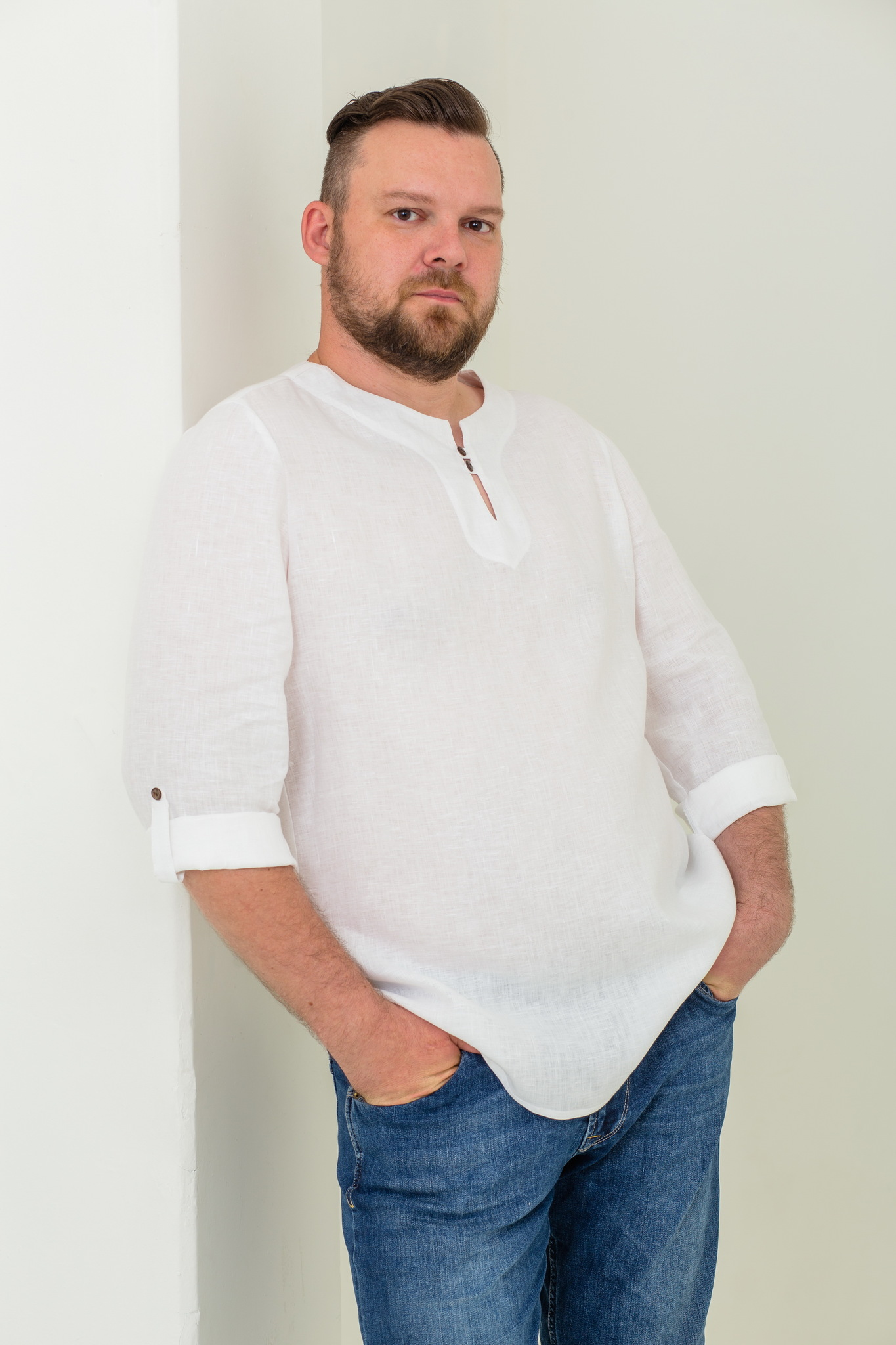 Льняная рубашка мужская Свежий ветер