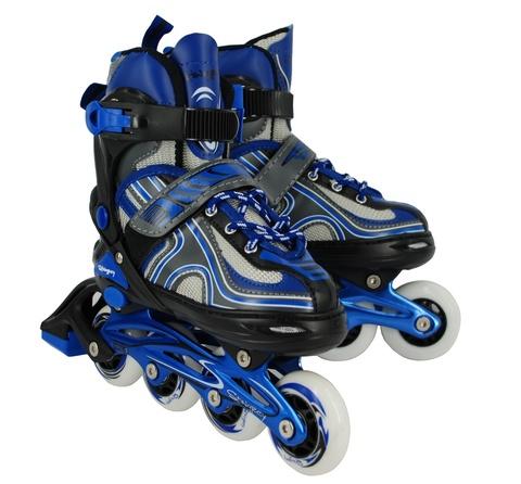 Коньки роликовые, раздвижные FL-1002BL, цвет синий, р.31-34 S