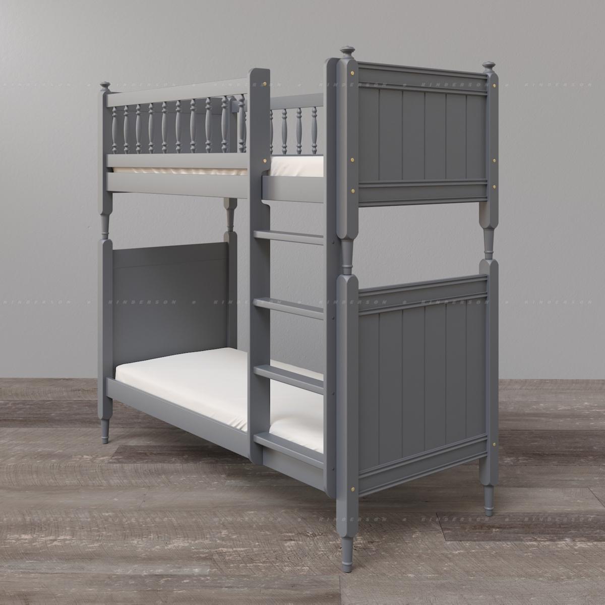Высокая двухъярусная кровать из массива бука для подростков. Базовая комплектация.