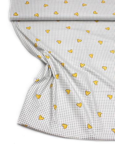 Сердечки желтые на серой клеточке