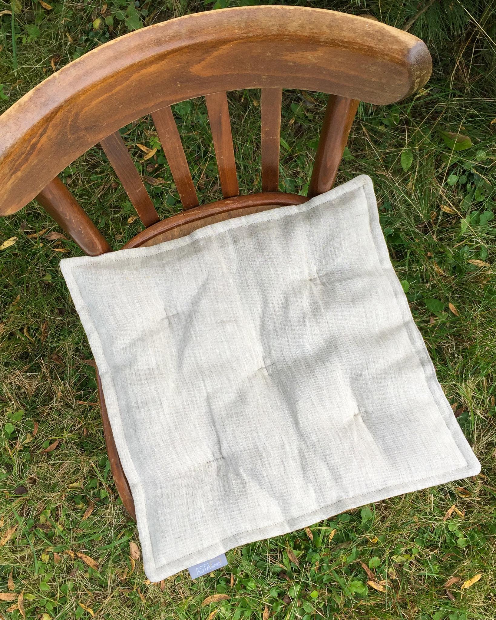 Подушка на стул льняная серая