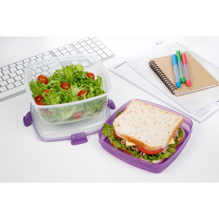 """Контейнер для салата и сэндвичей Sistema """"TO GO"""" 1,63 л, цвет Фиолетовый"""