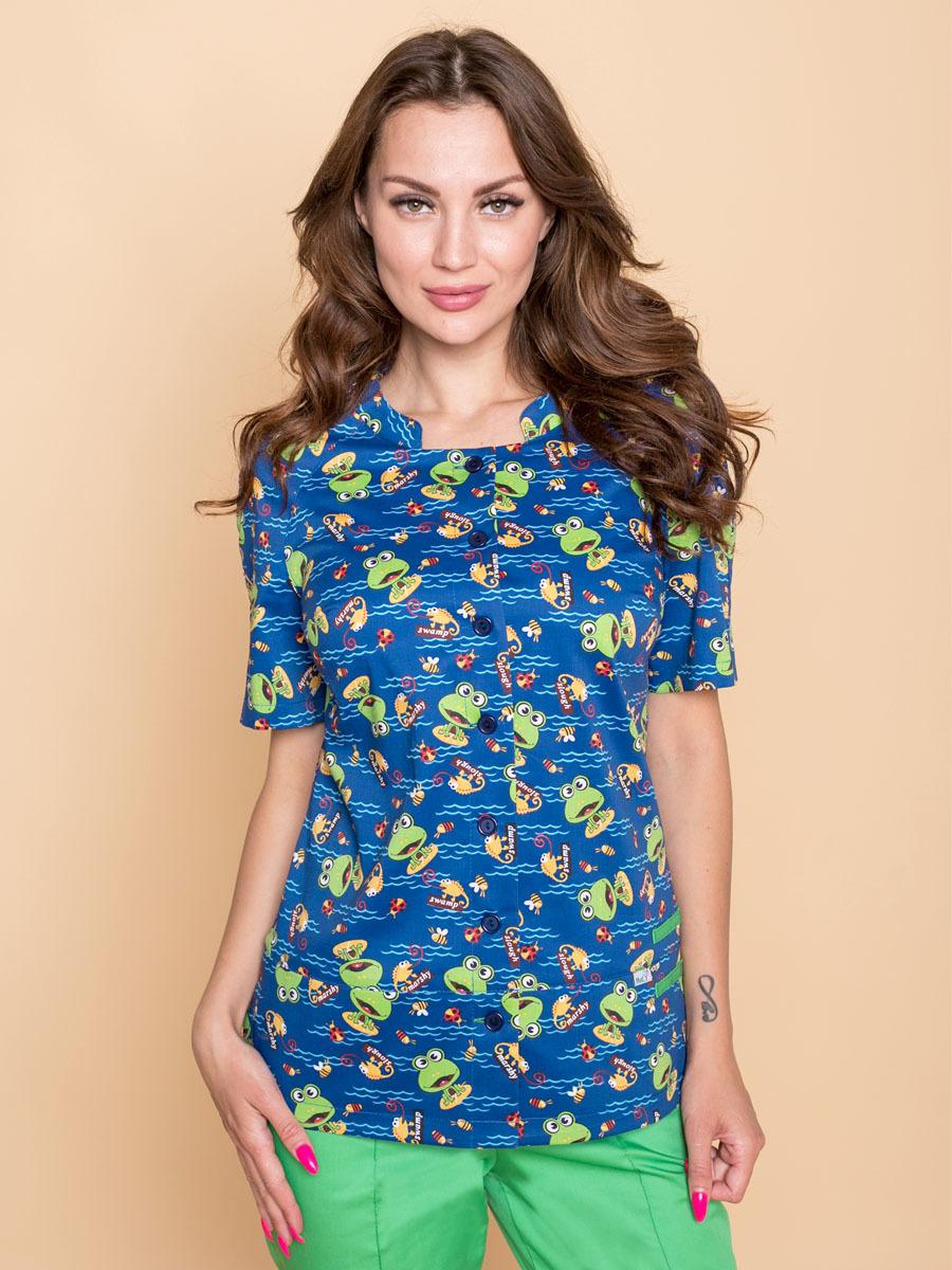 Женская Блуза медицинская Бл-356/1 с принтом
