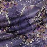 Шёлковый атлас с живописным принтом в фиолетовых оттенках