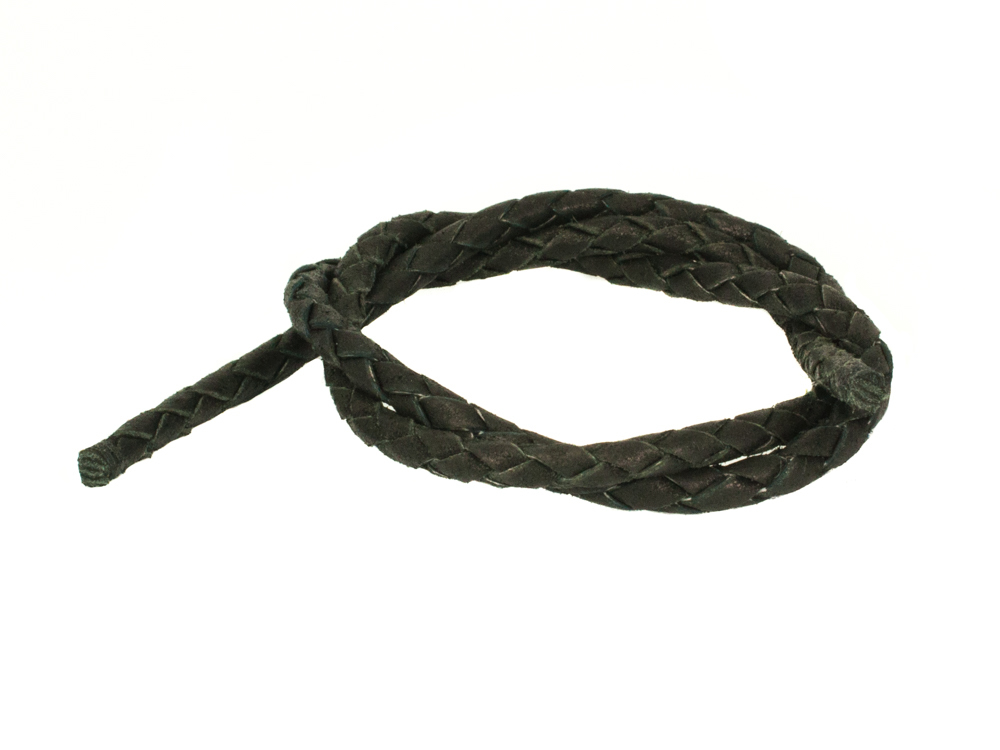 Шнур кожаный плетёный 5 мм 60-70 см для кулонов с карабинным замком (отдельно) RH00986KZ