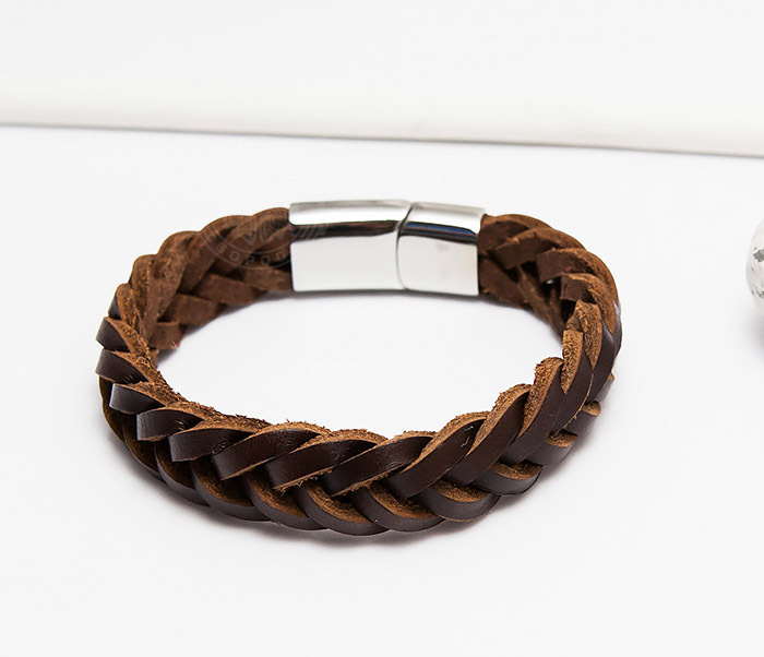 BM451-2 Мужской браслет из натуральной кожи коричневого цвета (19 см) фото 03