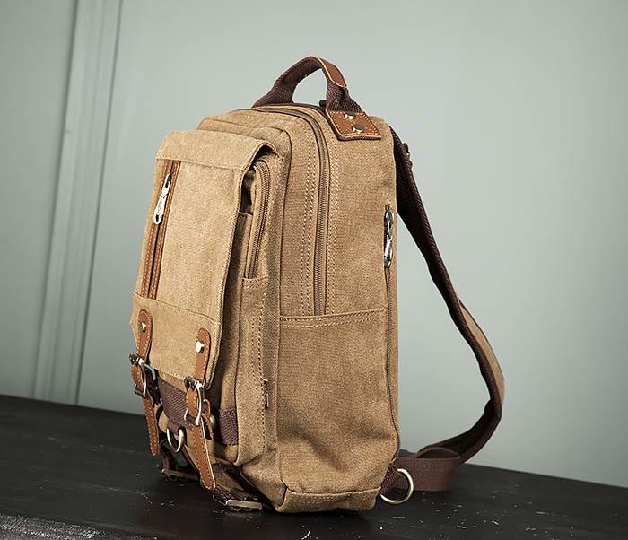 BAG394-2 Коричневый городской рюкзак с одной лямкой через плечо фото 05