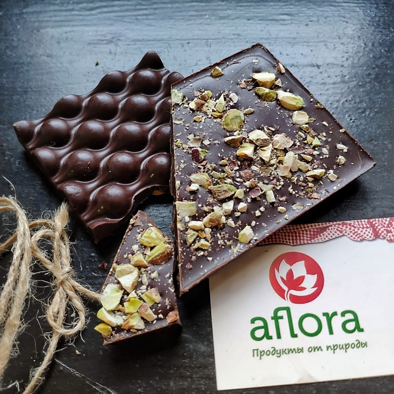 Фотография Шоколад на меду с фисташкой / 65 гр купить в магазине Афлора