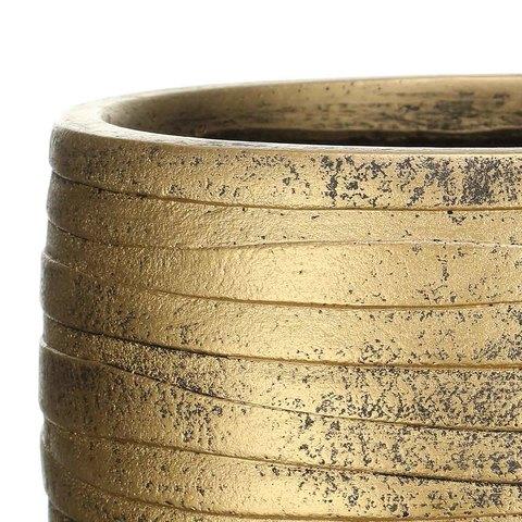ROWR27-GLD Кашпо Роу Круглое, файберстоун, золото, D27 H25.5 cm