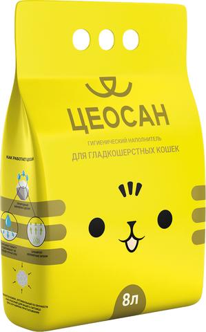 Наполнитель для кошачьего туалета впитывающий, для гладкошерстных кошек, 8 л Цеосан