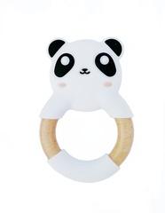 Силиконовый прорезыватель с деревянным кольцом МАМидея Панда