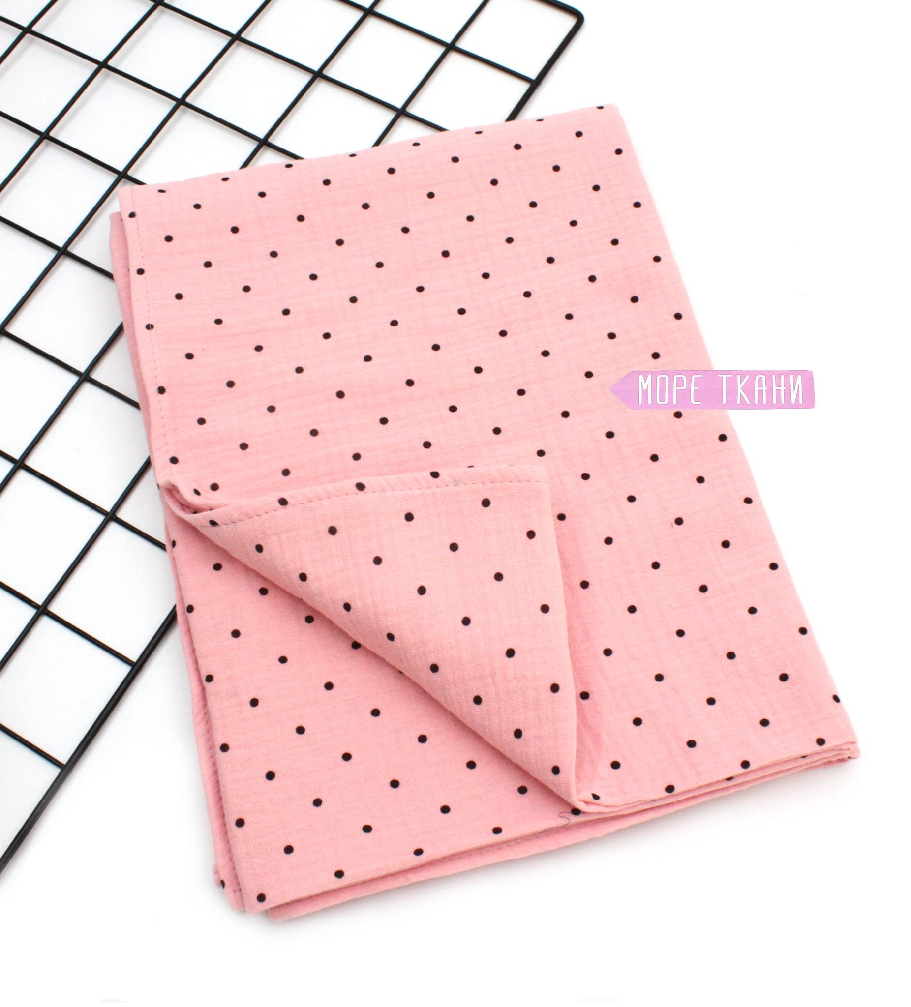 Муслиновая пеленка-горох на розовом,1185(100х130)