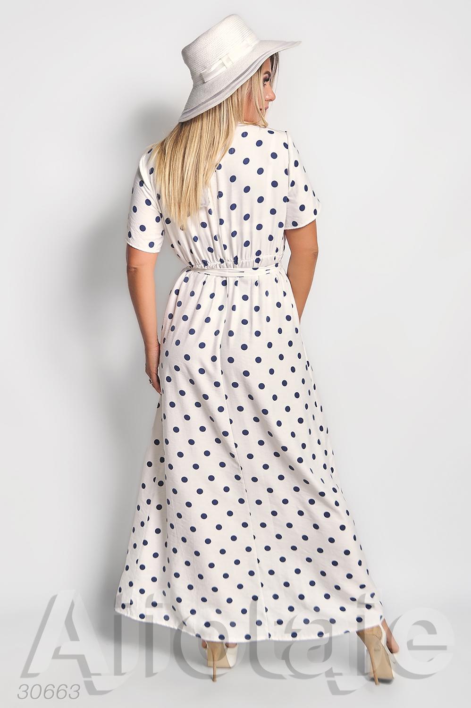 Платье в пол белого цвета в горох