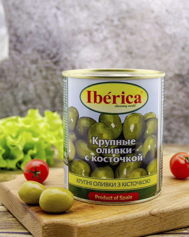 Оливки Iberica Гигантские (крупные) с косточкой 875 гр.