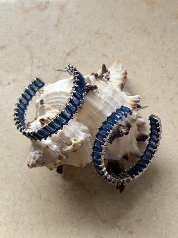 Серьги Фаира 3,5 см, синие