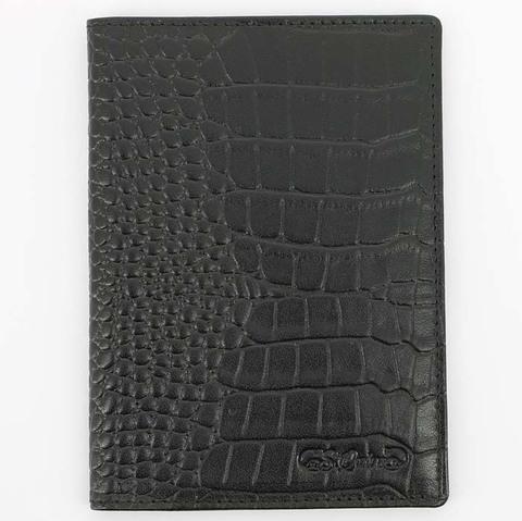 Обложка для паспорта S.Quire, натуральная воловья кожа, черный, фактурная, 9,9x13,4 см