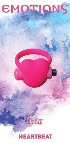 Розовое эрекционное виброколечко Emotions Heartbeat