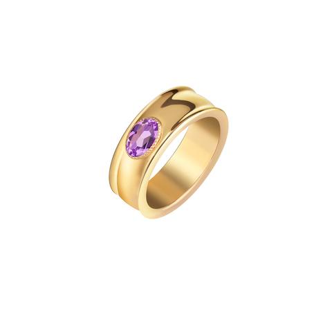 Кольцо широкое с аметистом в позолоте