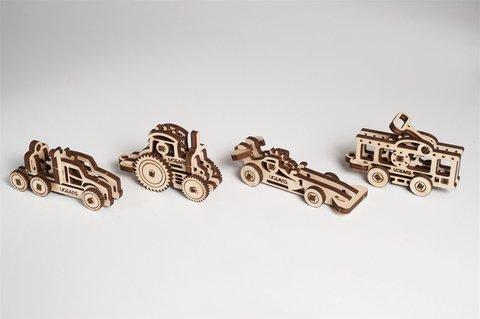 Фиджеты Транспорт (4 шт.) (Ugears) - Деревянный конструктор, сборная модель, 3D пазлия