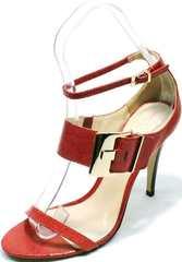 Летние женские босоножки на каблуке с закрытой пяткой Via Uno1103-6605 Red.