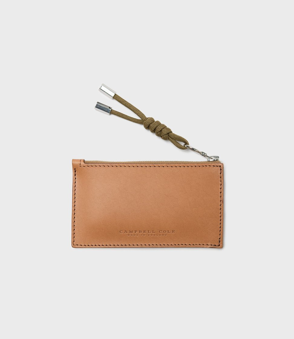 Campbell Cole Simple Coin Pouch with Puller Tan