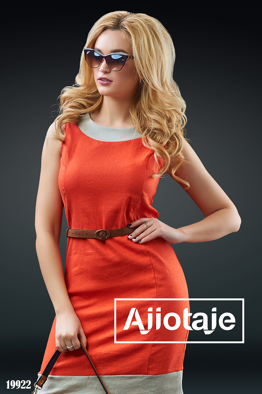 Льняное платье морковного цвета